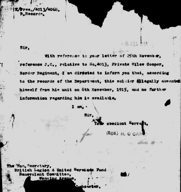 The last correspondence from the War Office Dec 1933