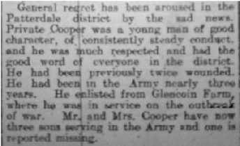 An extract from George's Obituary in in the Cumberland & Westmorland Herald 28th September 1918