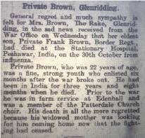 Frank's Death as reported in the Cumberland & Westmorland Herald 23rd November 1918