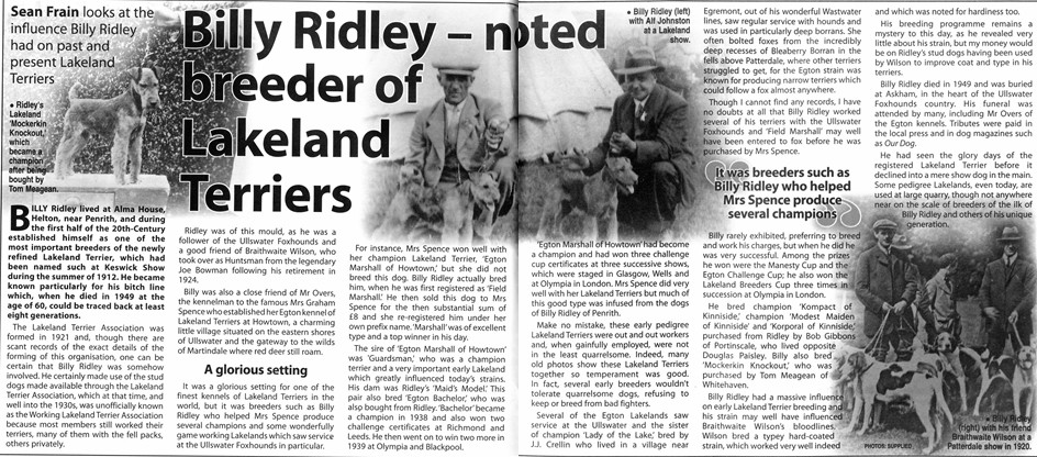 An Article in Countryman's Weekly on Billy Ridley, Abraham's Brother, kindly shared by his family.