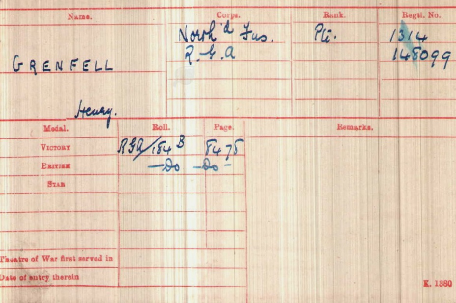 Harry Grenfell Medal Index Card