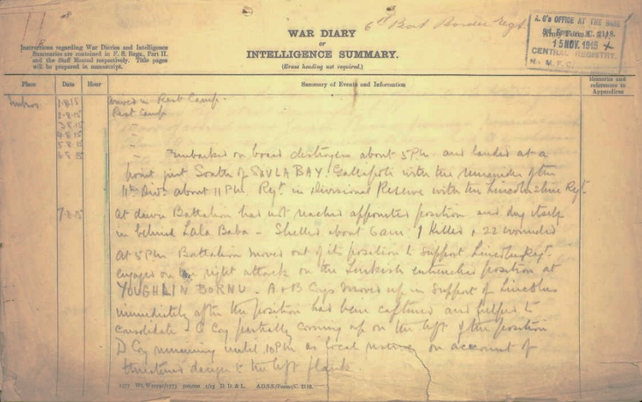 Battalion diary including the entry for the date of Abraham's death on the 7th August.