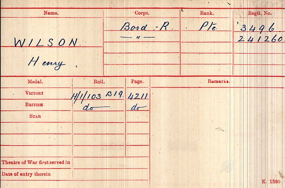 Private Henry Wilson Medal Index Card