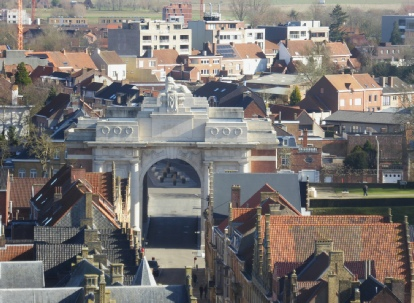 The Menin Gate from the top of the Iepers Cloth Hall - Photo © Rob Shephard