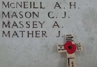 Private Cecil Mason on the Menin Gate Memorial Ypres