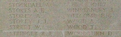 Albert's Name on the Thiepval Memorial