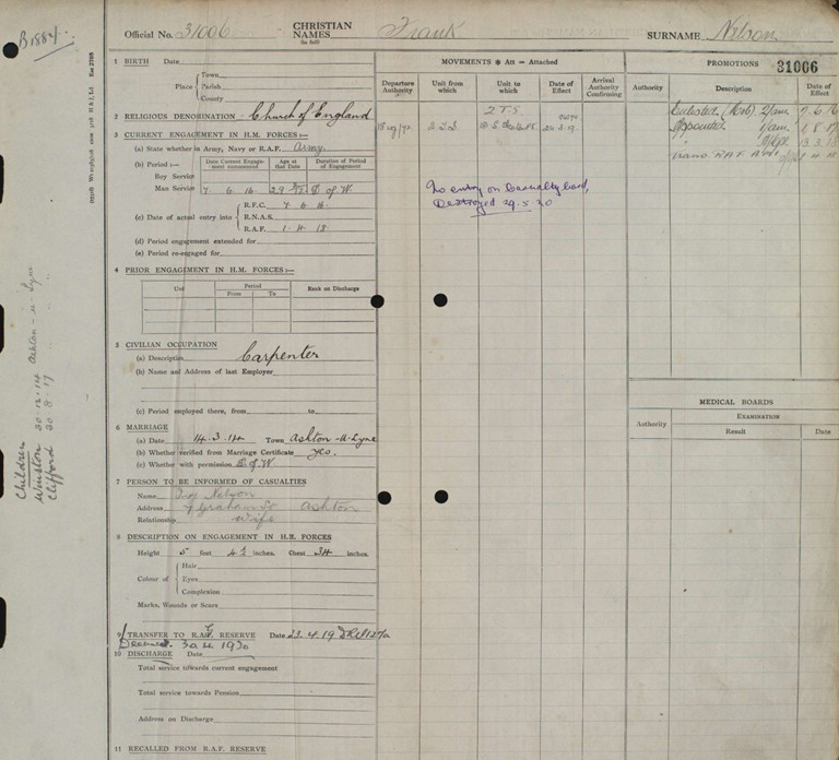 Corporal Francis (Frank) William Nelson Service Record