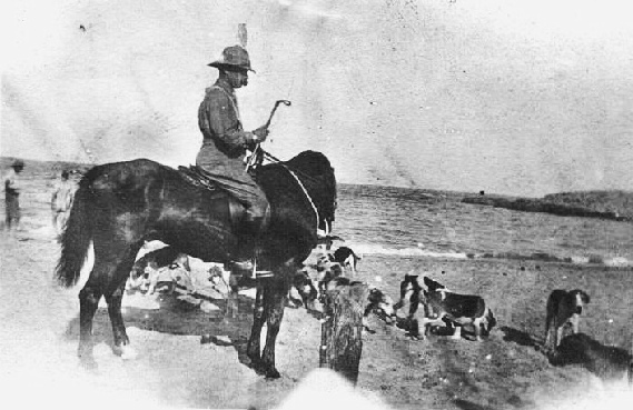 Dawson Bowman and the hounds, possibly in Egypt