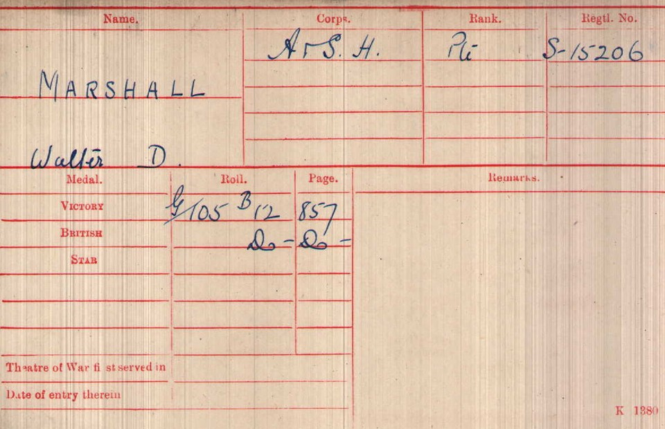 Walter Donald Marshall Medal Card