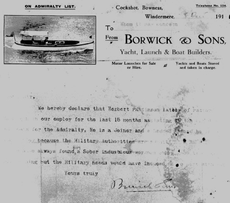The reference from Borwick & Sons in Windermere