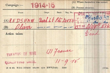 Oliver Readshaw Medal Card