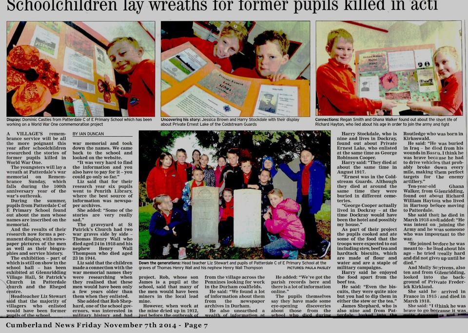 Cumberland News Article 7th Nov 2014 on Patterdale School WW1 Project