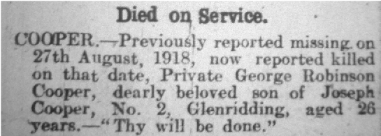 George's Death as reported in the Cumberland & Westmorland Herald 21st September 1918