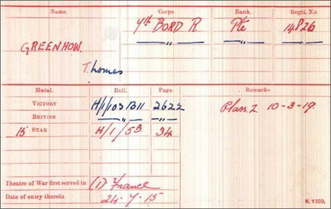 Thomas Greenhow Medal Card