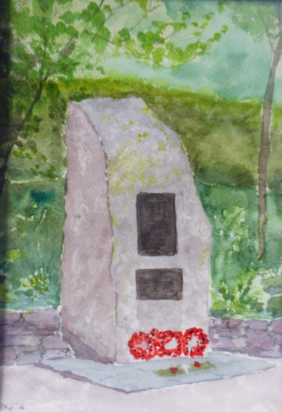 Watercolour of the Patterdale Memorial by Pat Griggs