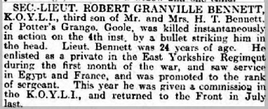 Announcement of Robert's death in the Yorkshire Post