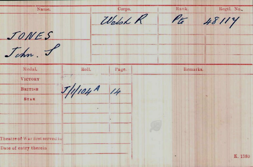 John Seymour Jones Medal Card