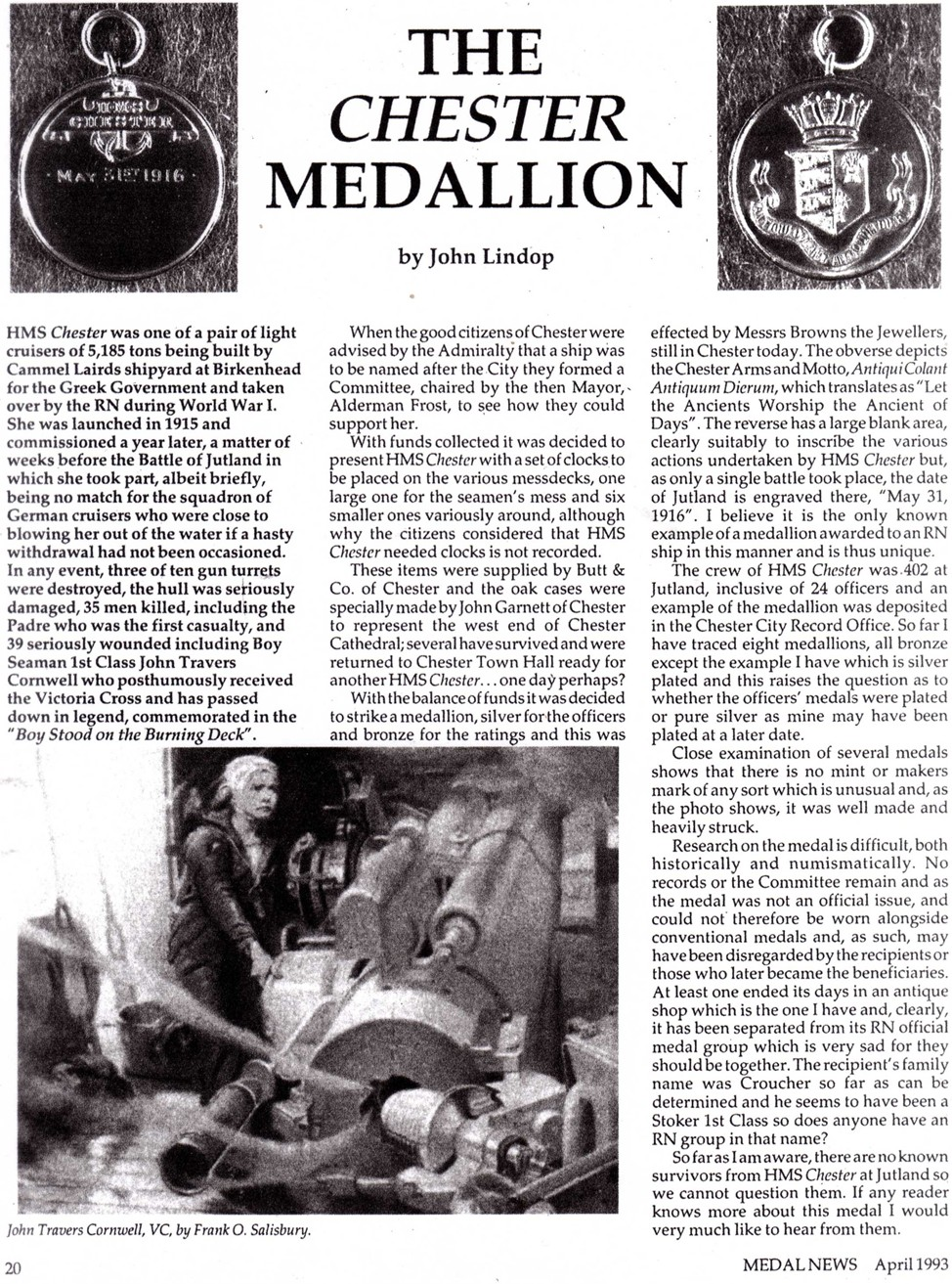 Chester Medallion Article by John Lindop