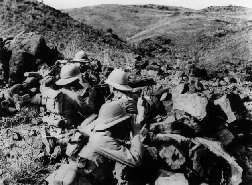 A machine gun crew of the Border Regiment on the North West Frontier in 1919